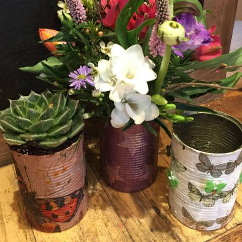 Earth Day- Flowers in Cans