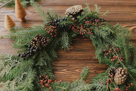 Traditional Wreath with Pine Cones